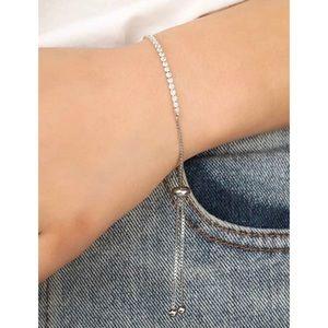 3/$33 Silver & Rhinestones Tennis Slide Bracelet